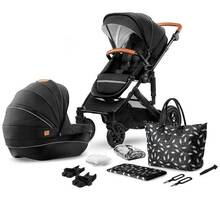 Коляска 2в1 Kinderkraft PRIME Black + сумка для мамы